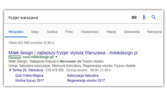 Rekalma w wyszukiwarce Google - Google AdWords